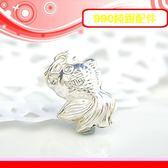 銀鏡DIY S990純銀DIY配件/可愛膨膨Q版福字小金魚吊墜~適合手作蠶絲蠟線/幸運衝浪繩(非合金)