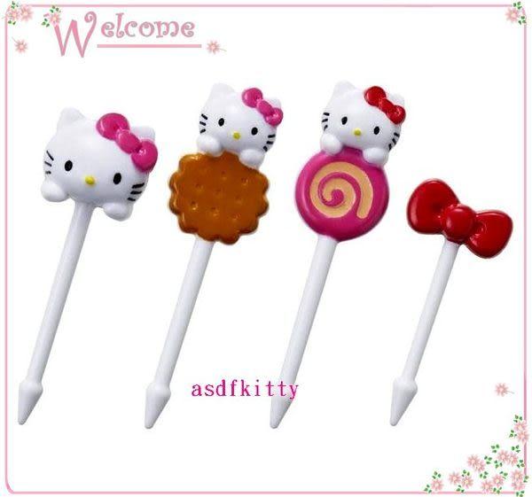 廚房【asdfkitty】kitty餅乾食物叉-三明治叉-宴會點心叉-便當-水果叉-日本正版