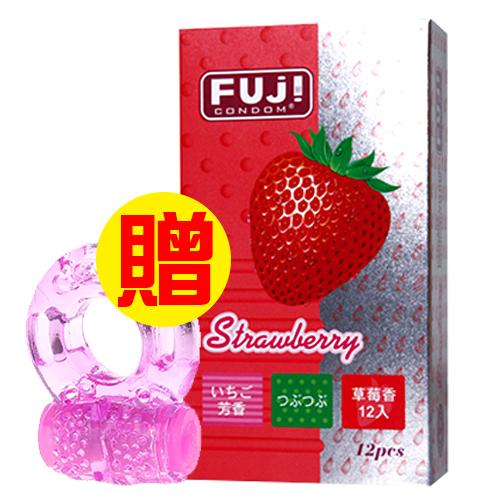 【愛愛雲端】富仕康 馥郁草莓香型衛生套 保險套 12片裝+震動保險套