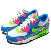 Nike 復古慢跑鞋 Air Max 90 Print Mesh GS 藍 綠 紅 運動鞋 女鞋 大童鞋【PUMP306】 833497-400