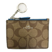 【COACH】經典C LOGO防刮皮革零錢包鑰匙包悠遊卡(藍)