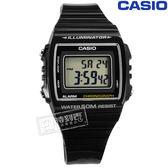 CASIO W 215H 1A 卡西歐計時碼錶LED 照明鬧鈴電子 橡膠手錶黑色38mm
