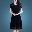 時尚鏤空短袖蕾絲洋裝/連衣裙女2021春夏新款流行女裝遮肚夏天休裙子 快速出貨