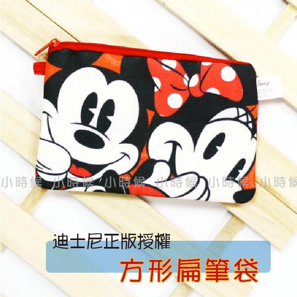 ☆小時候創意屋☆ 迪士尼 正版授權 米奇&米妮 帆布 扁 筆袋 化妝包 零錢包 創意 禮物 長夾