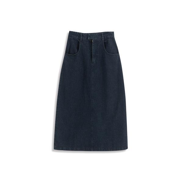 Queen Shop【03020598】高腰後開岔深藍牛仔裙 S/M/L*現+預*