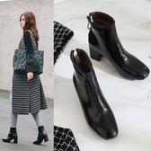{丁果時尚}大尺碼女鞋34~43►韓版百搭漆皮中跟短靴子3色