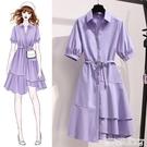 襯衫洋裝紫色襯衫連身裙女夏季2021新款...