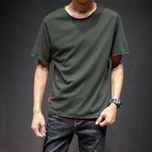 夏季新款圓領短袖T恤洋裝男士加肥大碼修身體恤正韓潮流男裝【中秋節85折】