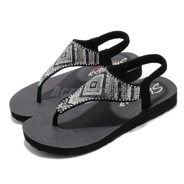 Skechers 涼拖鞋 Meditation-Gypsy Glam 黑 銀 水鑽鞋面 女鞋 人字拖 夾腳 涼鞋【PUMP306】 31769BLK