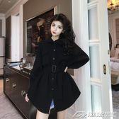 外套女秋新款時尚chic簡約寬鬆顯瘦中長款呢子外套女配腰帶  潮流前線