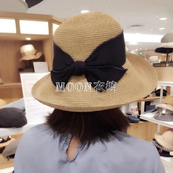 帽子日本uv防曬遮陽帽夏季娘娘漁夫可折疊出游海邊拉菲沙灘草帽女 快速出貨