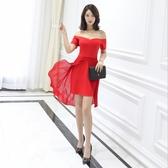 中大尺碼洋裝 一字領短袖露肩性感氣質舒適連衣裙  L-5XL #wm719 ❤卡樂❤