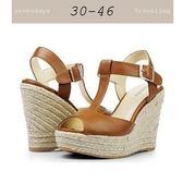 大尺碼女鞋小尺碼女鞋丁字羅馬麻編楔型厚底涼鞋魚口鞋棕色(30-43444546)現貨#七日旅行