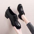 牛津鞋 高跟女鞋秋季2021新款英倫風小皮鞋女百搭單鞋女粗跟黑色工作鞋 歐歐