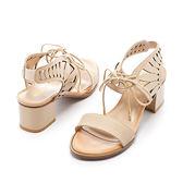★早春新品★【Fair Lady】獨特縷空綁帶繞踝一字粗跟涼鞋-米