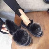 秋款豆豆鞋女軟底韓版百搭學生秋冬季外穿毛球平底毛毛鞋 歌莉婭