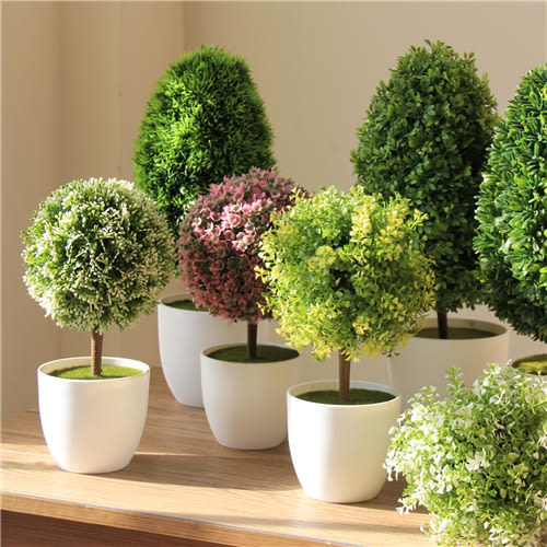 2盆 仿真植物假花盆栽擺設家居客廳綠植 塑料花球多肉小盆景~幸運閣