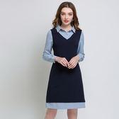 中大尺碼~襯衫領假兩件式長袖連衣裙(L~5XL)