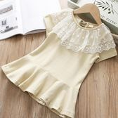 全館83折寶寶荷葉領連身裙 2019夏裝新款女童童裝兒童條紋長裙子qz-5362