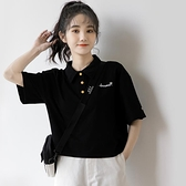 2021夏季新款短款翻領T恤女學生黑色短袖衫寬鬆韓版百搭上衣 「99購物節」