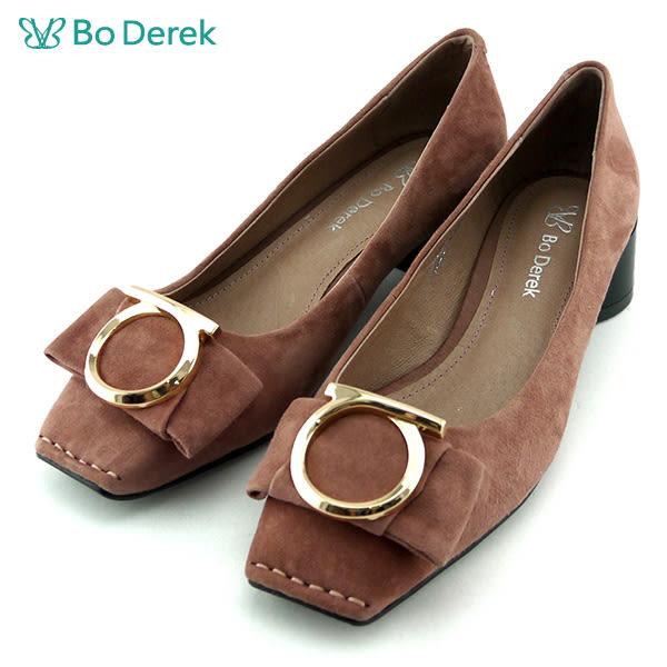 ★新品上市★【Bo Derek】方頭淺口大圓跟鞋-粉