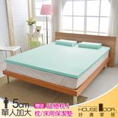 House Door 大和布套 5cm乳膠床墊抗菌保潔組-單大3.5尺(水湖藍)