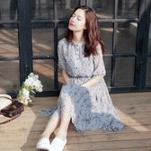 洋裝 韓版清新雪紡小碎花短袖連身裙 花漾小姐【預購】