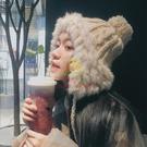 雷鋒帽 秋冬季毛線帽女韓版可愛毛球護耳雷鋒帽冬天保暖兔毛針織帽子潮【樂淘淘】