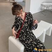 新款秋初戀法式桔梗雪紡碎花連衣裙子大碼女裝胖mm【勇敢者】