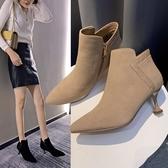 裸靴高跟鞋新款冬季細跟短靴尖頭鞋瘦瘦女靴春秋單靴網紅小跟裸靴618購