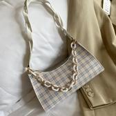 側背包 法式女士小包包新款時尚格子腋下包小眾高級感單肩法棍女包 中秋降價
