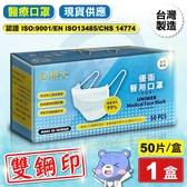 (雙鋼印) 恒大 優衛醫藥口罩 醫療口罩 藍色-50入/盒 (台灣製造 CNS14774) 專品藥局【2016052】