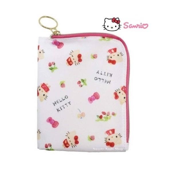 日本限定 三麗鷗 HELLO KITTY 凱蒂貓 蝴蝶結草莓版 折疊 口罩袋 / 口罩收納袋 / 口罩套