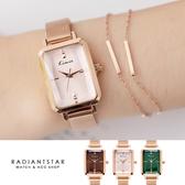 韓國KIMIO晝夜之詩花玻璃切面方形金屬米蘭鍊帶手錶【WKI6376】璀璨之星☆
