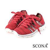 SCONA 蘇格南 輕量高彈力綁帶休閒鞋 紅色 7307-2