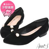 Ann'S名媛日常-氣質珍珠平底尖頭鞋-黑