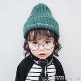 寶寶兒童毛線帽子針織秋冬新款純色男童女童韓版小孩帽子保暖護耳  橙子精品