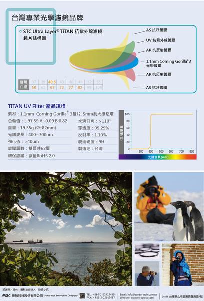 【STC】TITAN UV Filter 58mm 輕薄強韌 特級強化保護鏡 – Corning Gorilla® 3