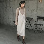 吊帶洋裝-休閒寬鬆純色針織連身裙2色73xm43【時尚巴黎】