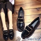 娃娃鞋 英倫風小皮鞋女鞋學院學生樂福鞋女金屬方扣平底黑色工作鞋單鞋女 快速出貨