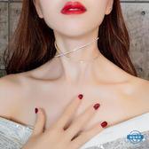 項鍊歐美水鉆性感隱形項鍊chocker項圈脖子飾品短版交叉鎖骨鍊頸鍊女 全館限時88折