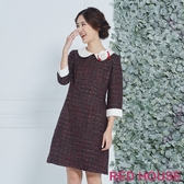【RED HOUSE 蕾赫斯】蕾絲領毛呢洋裝(共兩色)(無胸花)