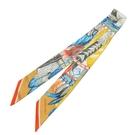 HERMES 愛馬仕 Danse Pacifique Twilly 黃色x藍色羽毛頭飾與貝殼圖案絲巾