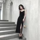 洋裝 2020夏季新款氣質吊帶洋裝女V領性感中長裙開叉內搭心機小黑裙