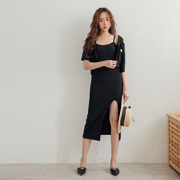MIUSTAR 正韓‧前開衩素面細肩合身棉質洋裝(共4色)【NH1479PG】預購