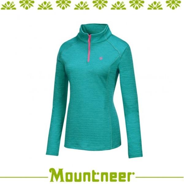【Mountneer 山林 女 雲彩針織保暖上衣《湖水綠》】22P16/高領/長袖/旅遊
