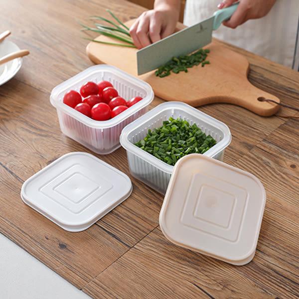 廚房用品 日系清新風多功能方型瀝水保鮮碗 【KHS023】收納女王