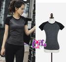 來福,B138運動衣短袖T恤黑灰拼接運動速乾排汗瑜珈服運動衣,單短袖售價398元
