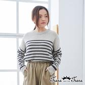 【Tiara Tiara】百貨同步ss  圓領橫條紋針織上衣(淺灰/深灰/卡其)
