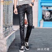 男士牛仔褲夏季薄款小腳褲黑色青少年男生初中學生高中男褲子 QQ26622『MG大尺碼』